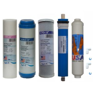 5 stage Reverse Osmosis Replacement Filter set with 75 GPD membrane, for undersink RO system